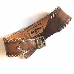 Vintage MOSCHINO Jeans Wide Brown Leather Belt